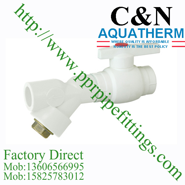 A type plastic ball valve with brass core and filter