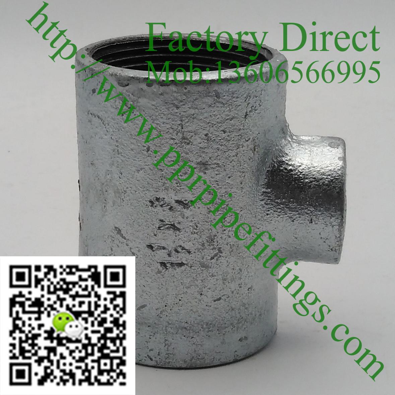 GI fittings, MI fittings, reducing tee baked plain