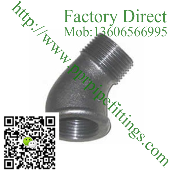 black banded malleable cast iron 45 deg male elbow fittings