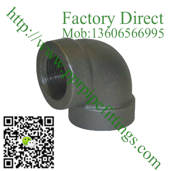 black banded malleable cast iron elbow fittings