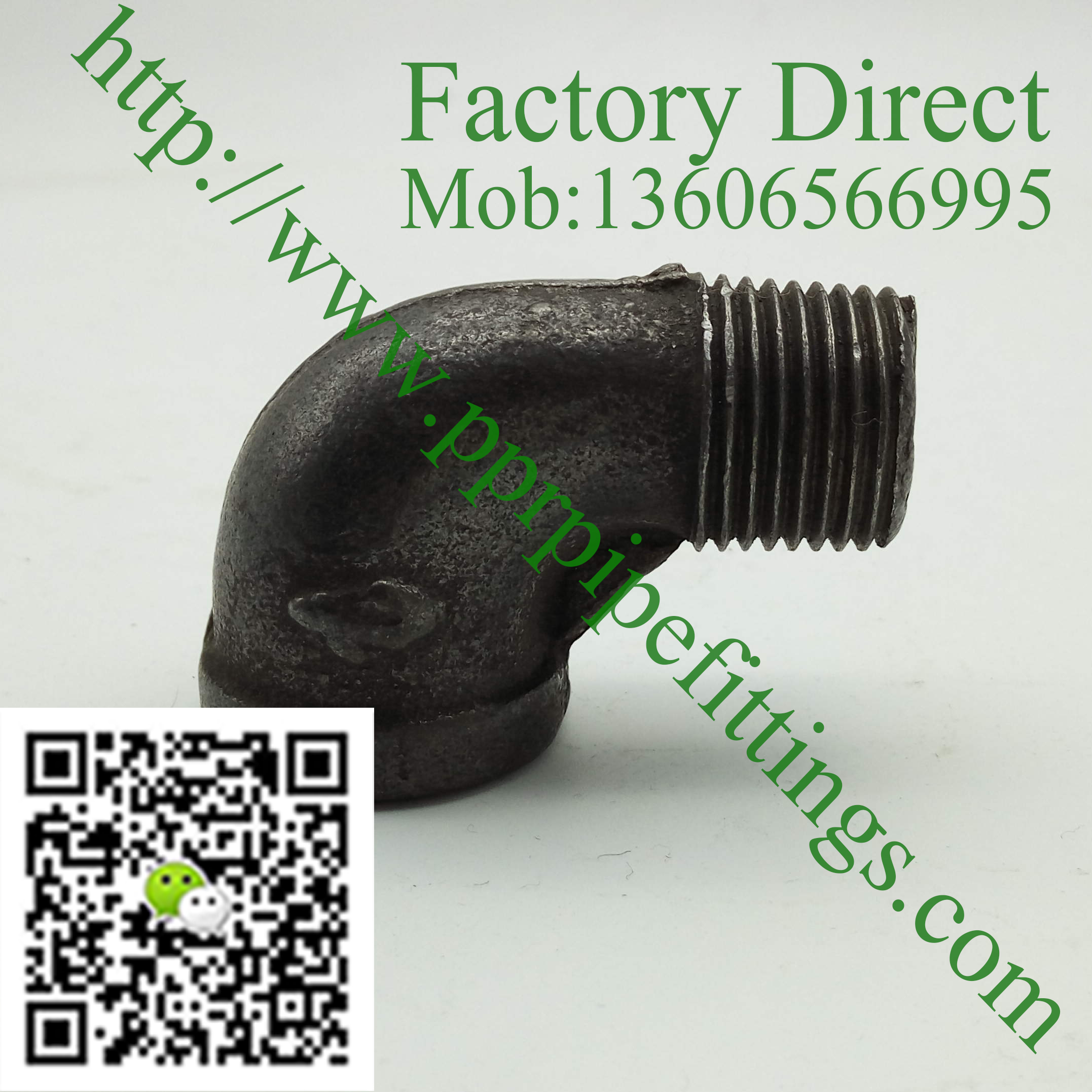 black malleable cast iron male elbow fittings
