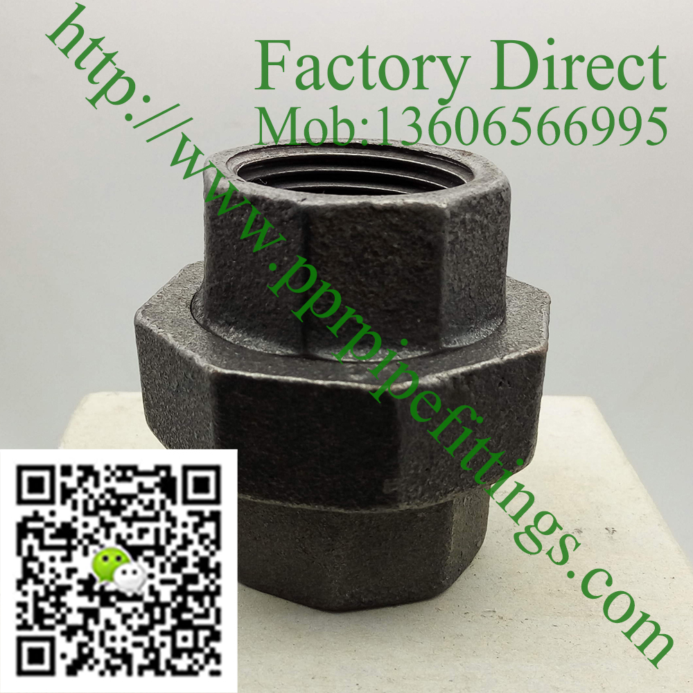 black malleable cast iron union
