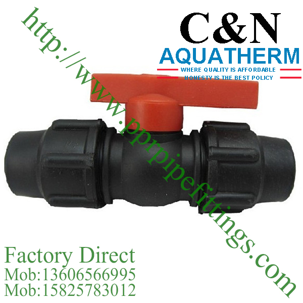 hdpe compression fittings red handle coupling valve