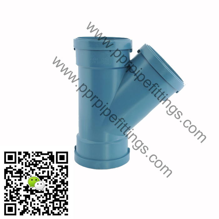 pp silent pipe fittings for drainage Y tee 45 branch