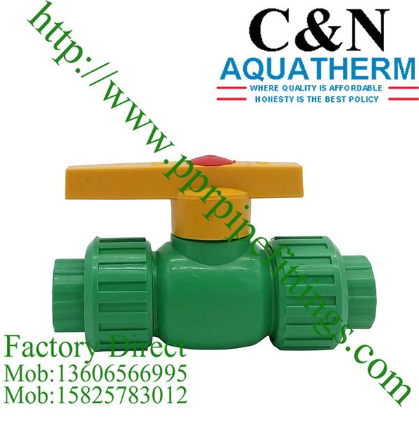 ppr plastic ball valve double union