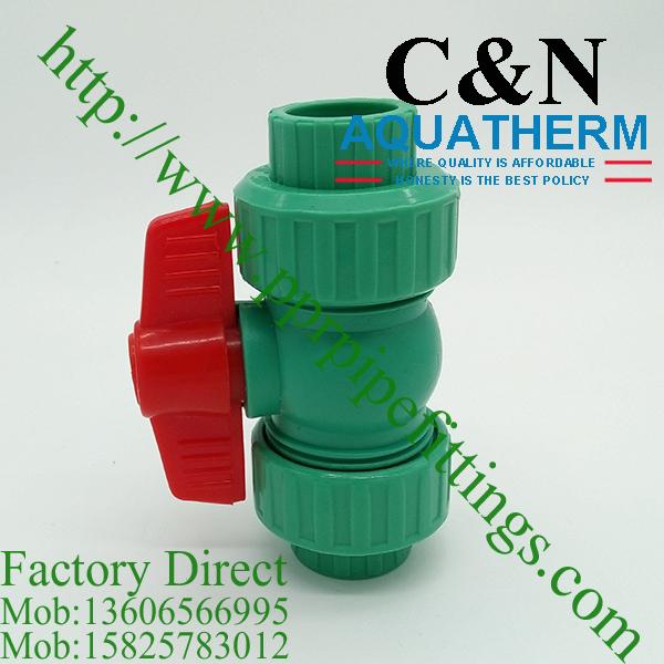 ppr plastic ball valves double union red handle